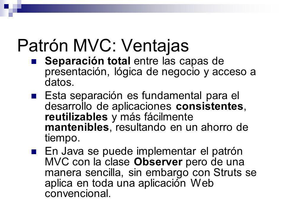 Patrón MVC: Ventajas Separación total entre las capas de presentación, lógica de negocio y acceso a datos. Esta separación es fundamental para el desa