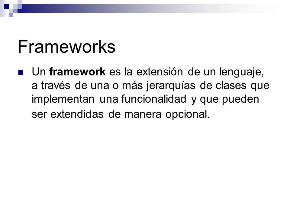 Frameworks Un framework es la extensión de un lenguaje, a través de una o más jerarquías de clases que implementan una funcionalidad y que pueden ser
