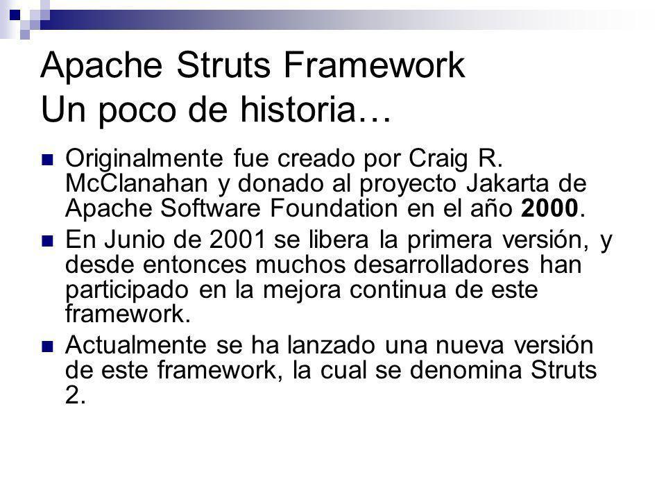 Apache Struts Framework Un poco de historia… Originalmente fue creado por Craig R. McClanahan y donado al proyecto Jakarta de Apache Software Foundati