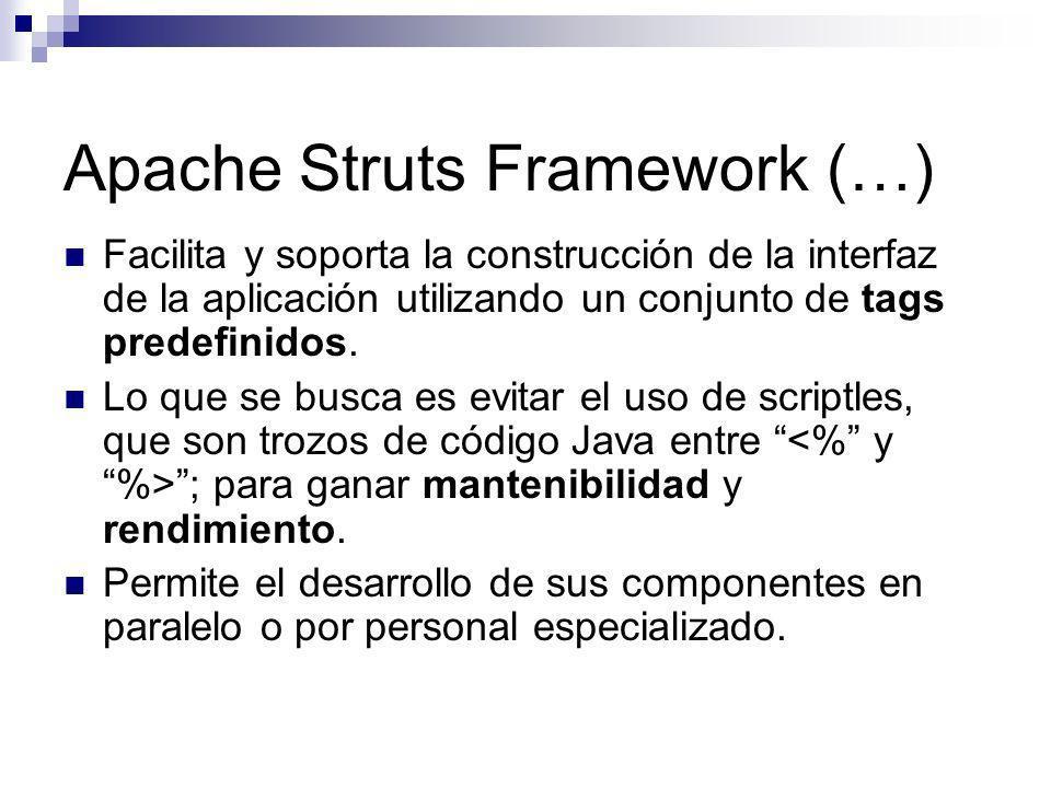 Apache Struts Framework (…) Facilita y soporta la construcción de la interfaz de la aplicación utilizando un conjunto de tags predefinidos. Lo que se