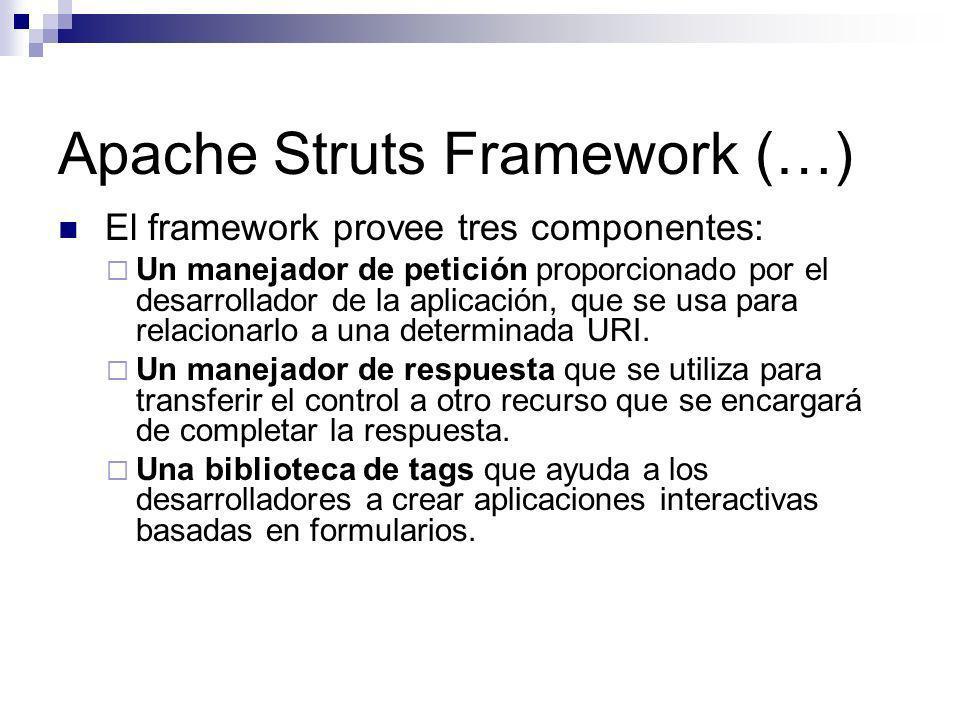 Apache Struts Framework (…) El framework provee tres componentes: Un manejador de petición proporcionado por el desarrollador de la aplicación, que se