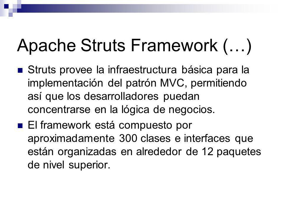 Apache Struts Framework (…) Struts provee la infraestructura básica para la implementación del patrón MVC, permitiendo así que los desarrolladores pue