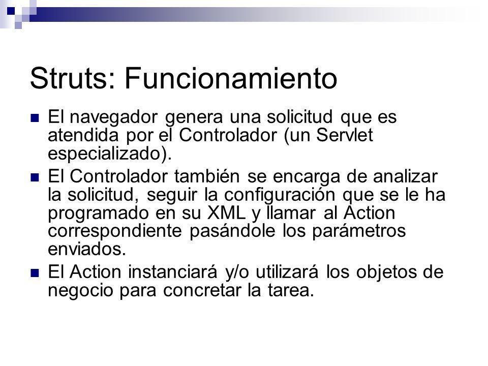 Struts: Funcionamiento El navegador genera una solicitud que es atendida por el Controlador (un Servlet especializado). El Controlador también se enca