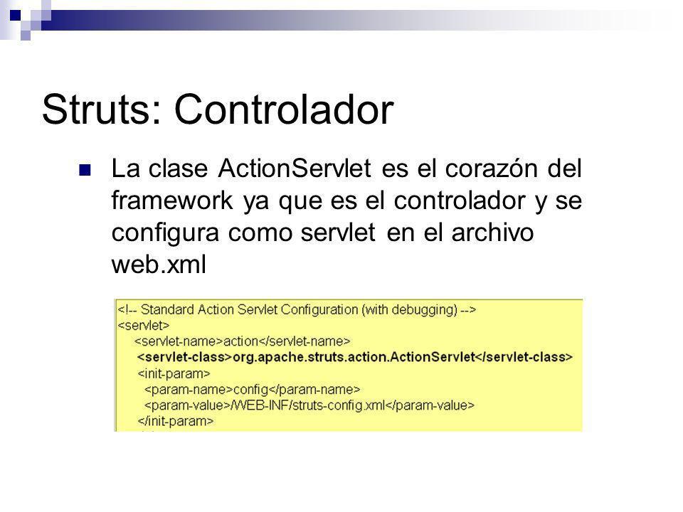 Struts: Controlador La clase ActionServlet es el corazón del framework ya que es el controlador y se configura como servlet en el archivo web.xml