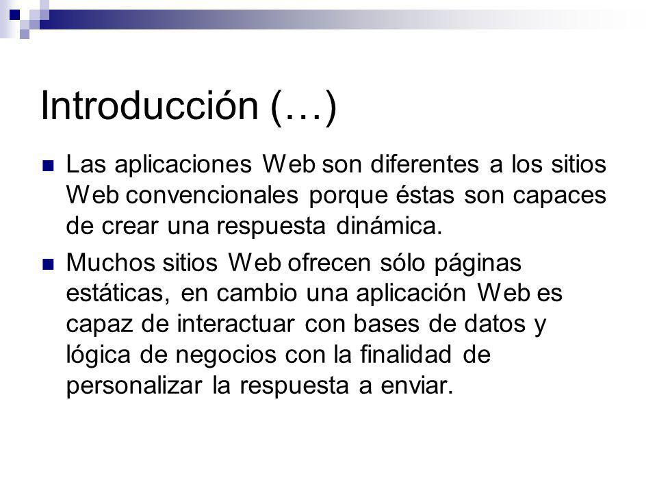 Introducción (…) Las aplicaciones Web son diferentes a los sitios Web convencionales porque éstas son capaces de crear una respuesta dinámica. Muchos