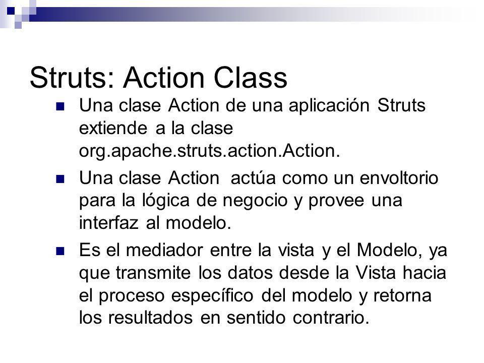 Struts: Action Class Una clase Action de una aplicación Struts extiende a la clase org.apache.struts.action.Action. Una clase Action actúa como un env