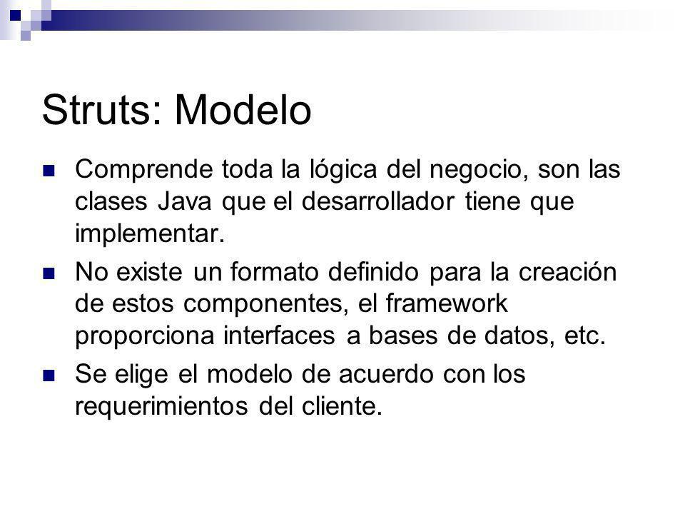 Struts: Modelo Comprende toda la lógica del negocio, son las clases Java que el desarrollador tiene que implementar. No existe un formato definido par