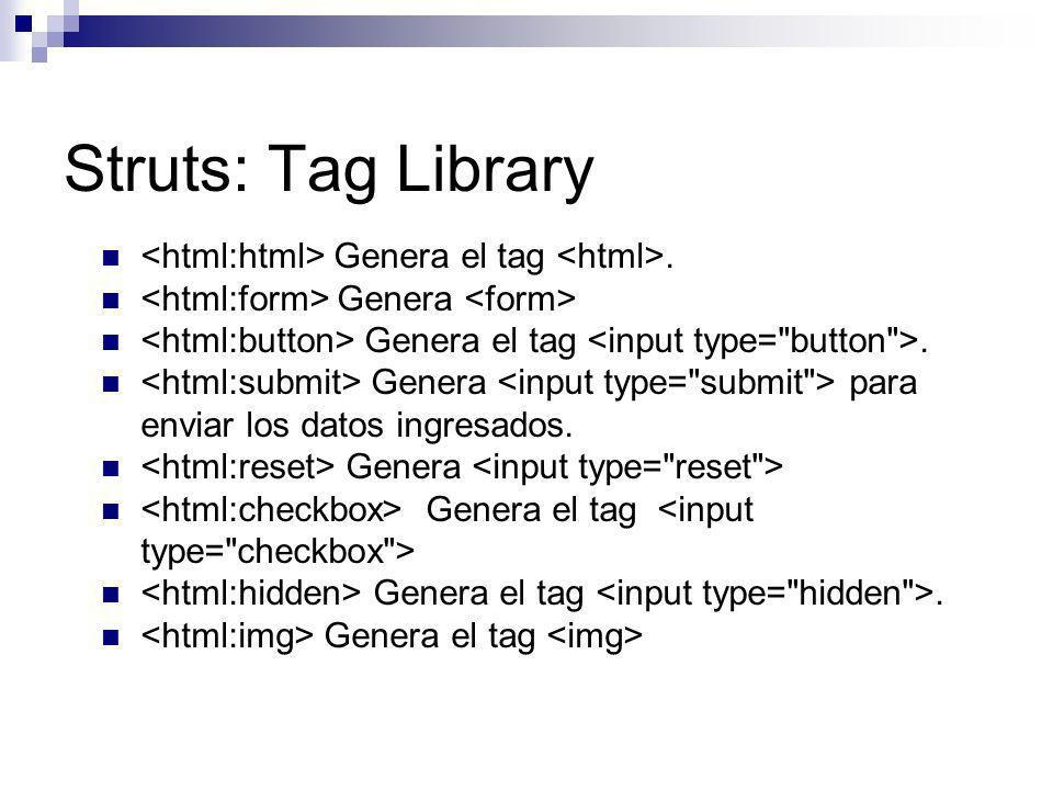 Struts: Tag Library Genera el tag. Genera Genera el tag. Genera para enviar los datos ingresados. Genera Genera el tag Genera el tag. Genera el tag