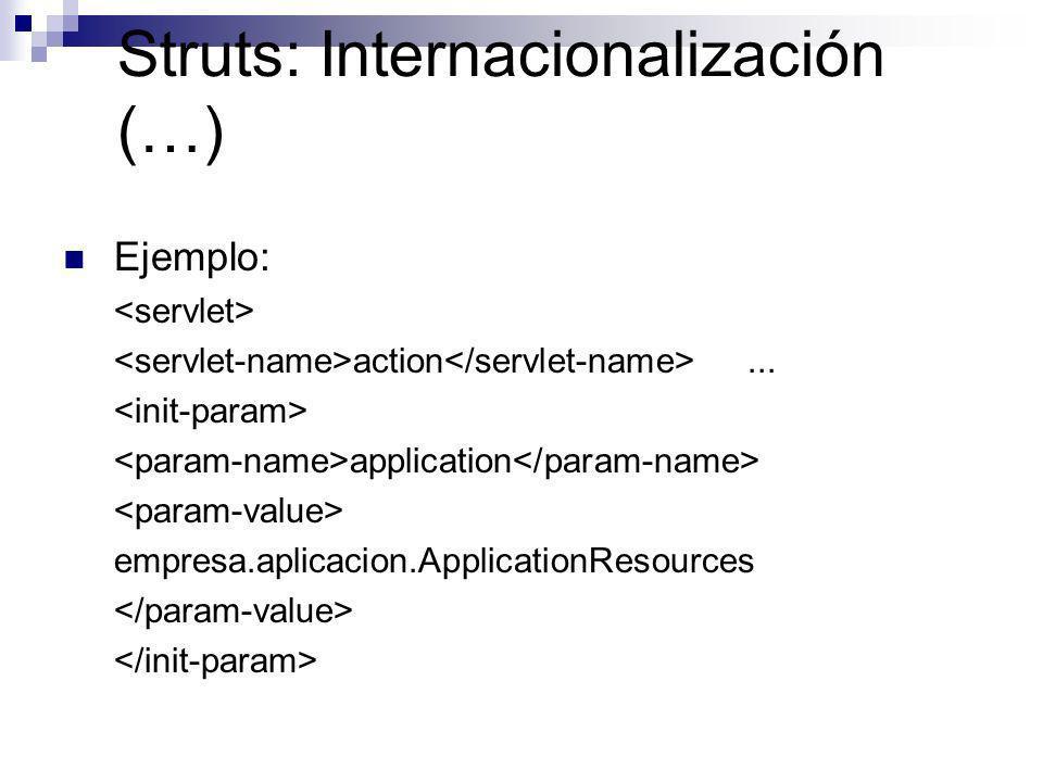 Struts: Internacionalización (…) Ejemplo: action... application empresa.aplicacion.ApplicationResources
