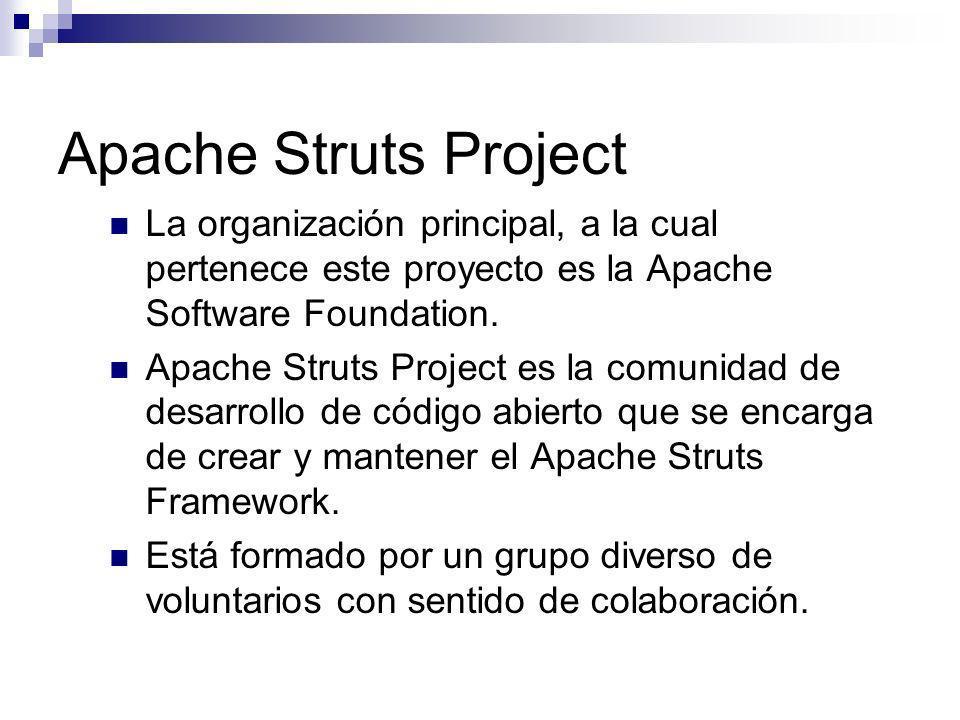 Apache Struts Project La organización principal, a la cual pertenece este proyecto es la Apache Software Foundation. Apache Struts Project es la comun