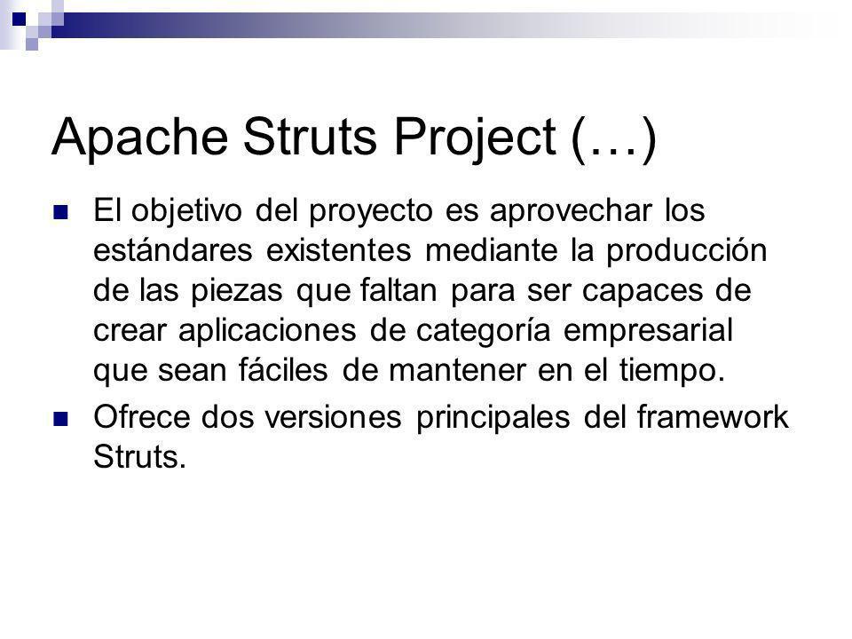 Apache Struts Project (…) El objetivo del proyecto es aprovechar los estándares existentes mediante la producción de las piezas que faltan para ser ca