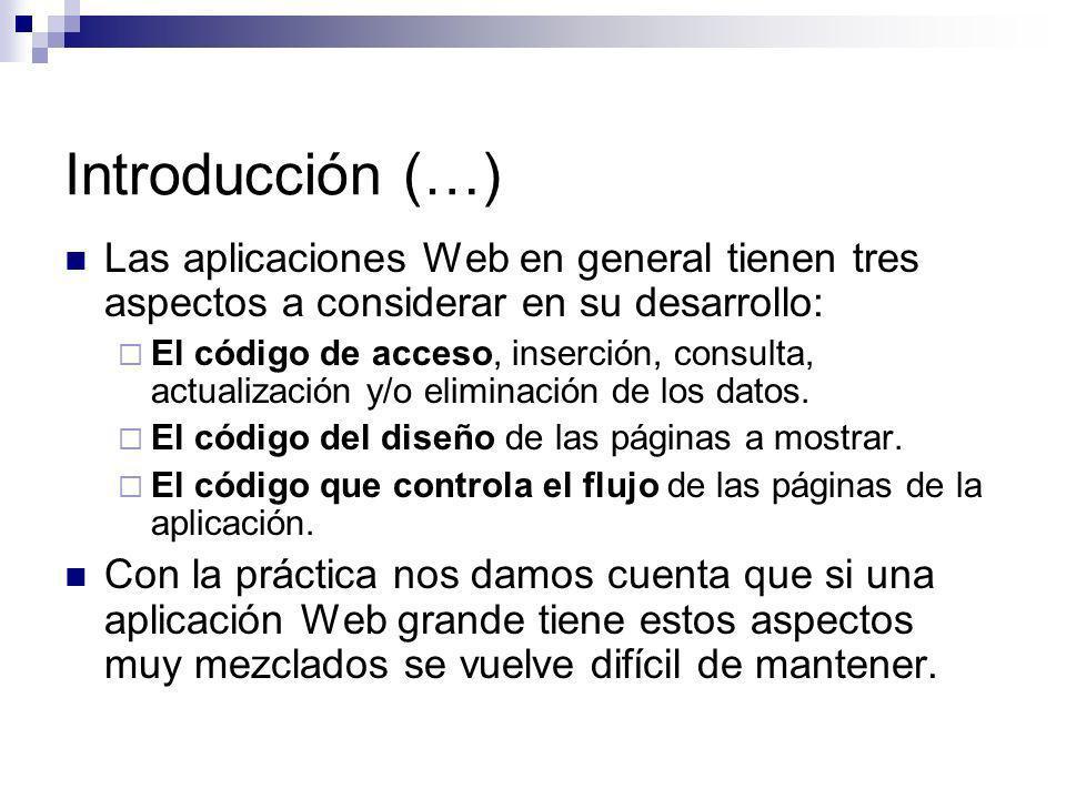 Introducción (…) Una forma de separar estos aspectos es usando la arquitectura MVC: Modelo-Vista-Controlador, donde: El modelo representa a la lógica de negocios (manipulación de datos).