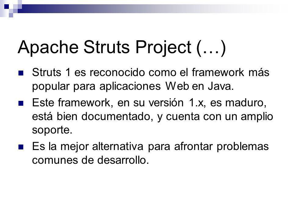 Apache Struts Project (…) Struts 1 es reconocido como el framework más popular para aplicaciones Web en Java. Este framework, en su versión 1.x, es ma