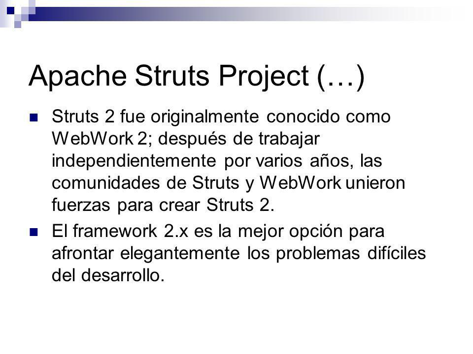 Apache Struts Project (…) Struts 2 fue originalmente conocido como WebWork 2; después de trabajar independientemente por varios años, las comunidades