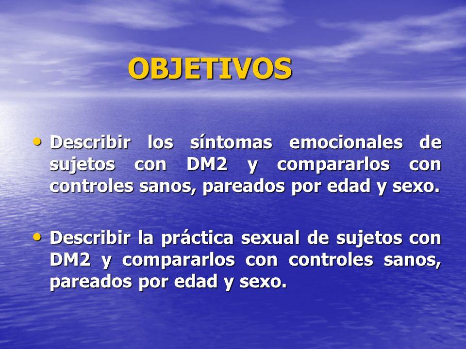 OBJETIVOS Describir los síntomas emocionales de sujetos con DM2 y compararlos con controles sanos, pareados por edad y sexo. Describir los síntomas em