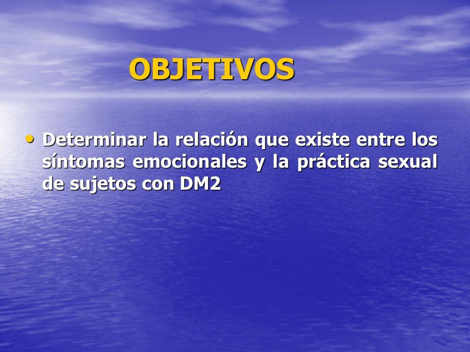OBJETIVOS Determinar la relación que existe entre los síntomas emocionales y la práctica sexual de sujetos con DM2 Determinar la relación que existe e