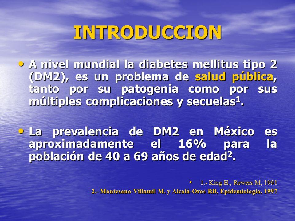 INTRODUCCION A nivel mundial la diabetes mellitus tipo 2 (DM2), es un problema de salud pública, tanto por su patogenia como por sus múltiples complic