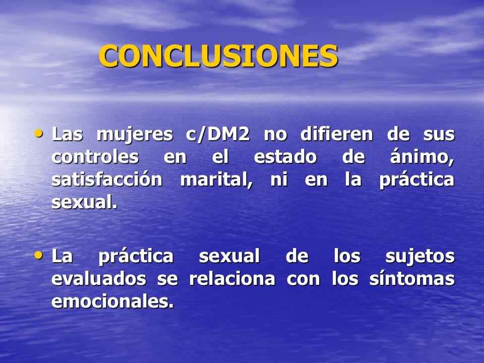 CONCLUSIONES Las mujeres c/DM2 no difieren de sus controles en el estado de ánimo, satisfacción marital, ni en la práctica sexual. Las mujeres c/DM2 n