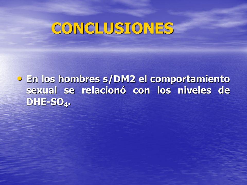 CONCLUSIONES En los hombres s/DM2 el comportamiento sexual se relacionó con los niveles de DHE-SO 4. En los hombres s/DM2 el comportamiento sexual se