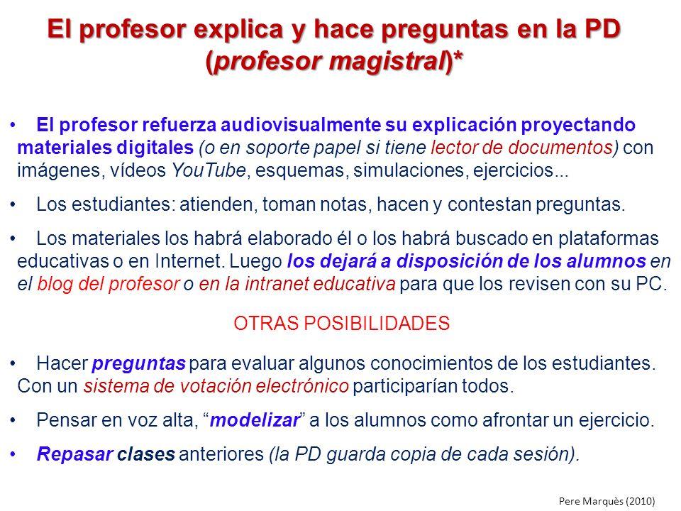 El profesor explica y hace preguntas en la PD (profesor magistral)* El profesor refuerza audiovisualmente su explicación proyectando materiales digita