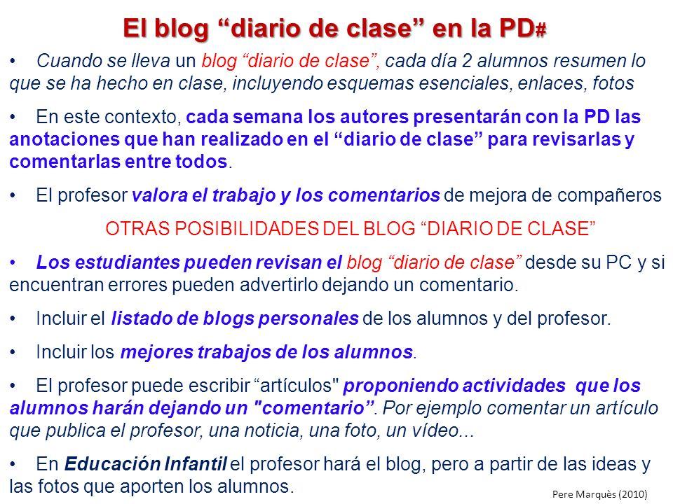 El blog diario de clase en la PD # Cuando se lleva un blog diario de clase, cada día 2 alumnos resumen lo que se ha hecho en clase, incluyendo esquema