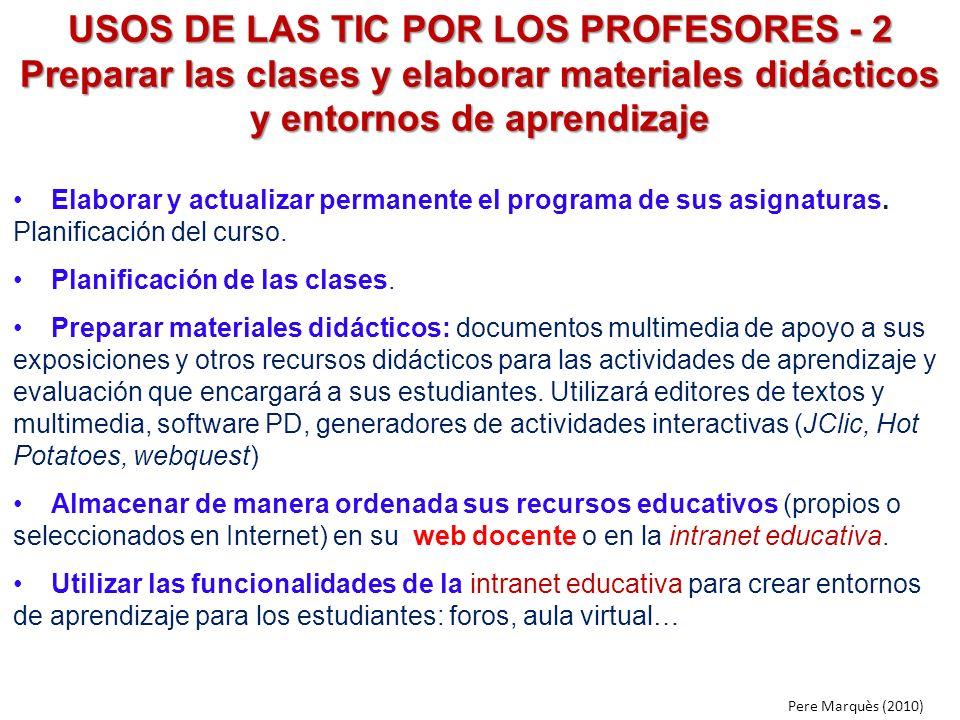USOS DE LAS TIC POR LOS PROFESORES - 2 Preparar las clases y elaborar materiales didácticos y entornos de aprendizaje Elaborar y actualizar permanente
