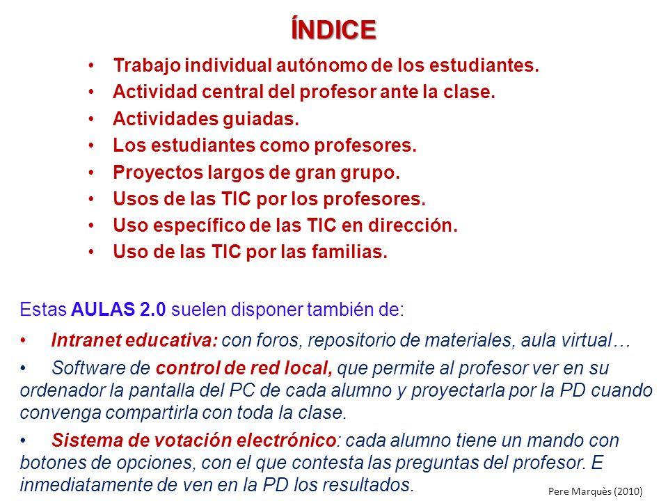 ÍNDICE Trabajo individual autónomo de los estudiantes. Actividad central del profesor ante la clase. Actividades guiadas. Los estudiantes como profeso