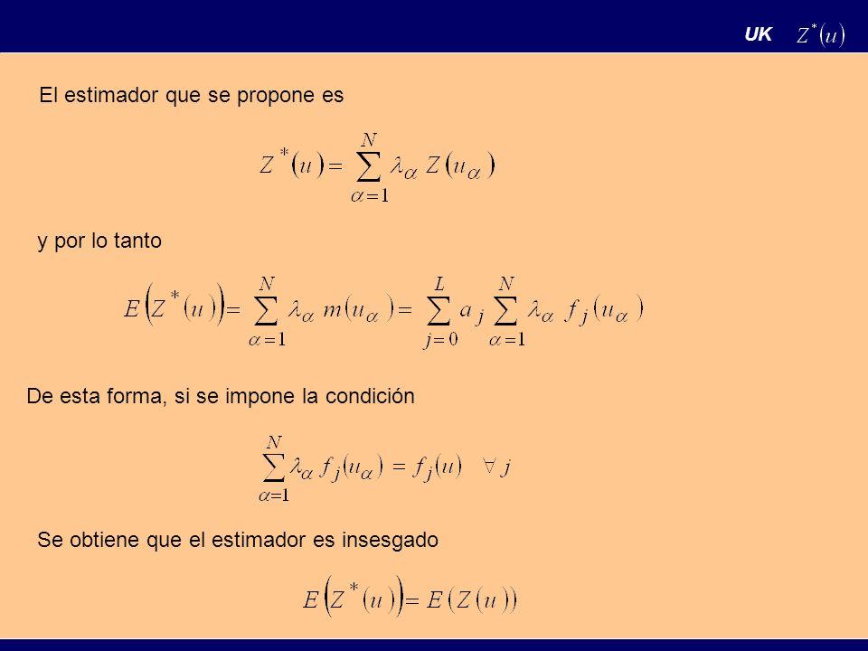 UK El estimador que se propone es y por lo tanto De esta forma, si se impone la condición Se obtiene que el estimador es insesgado