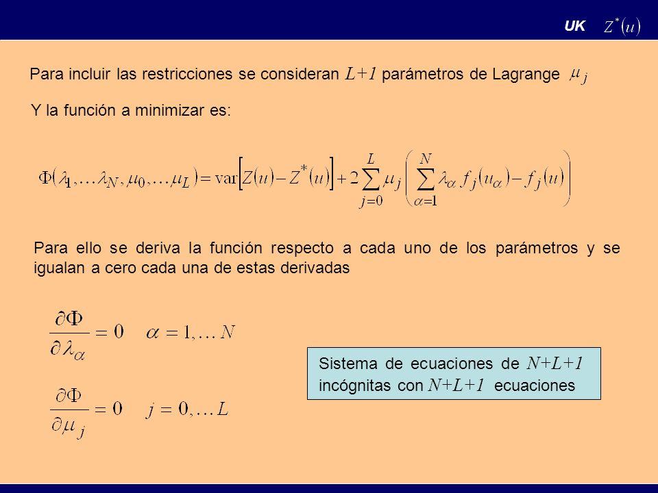 UK Para incluir las restricciones se consideran L+1 parámetros de Lagrange Y la función a minimizar es: Para ello se deriva la función respecto a cada