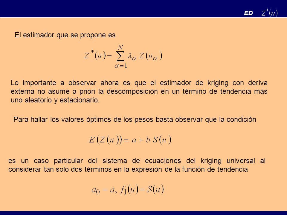 ED Para hallar los valores óptimos de los pesos basta observar que la condición es un caso particular del sistema de ecuaciones del kriging universal