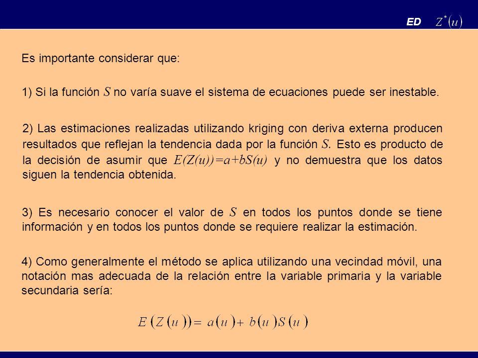 ED Es importante considerar que: 1) Si la función S no varía suave el sistema de ecuaciones puede ser inestable. 2) Las estimaciones realizadas utiliz