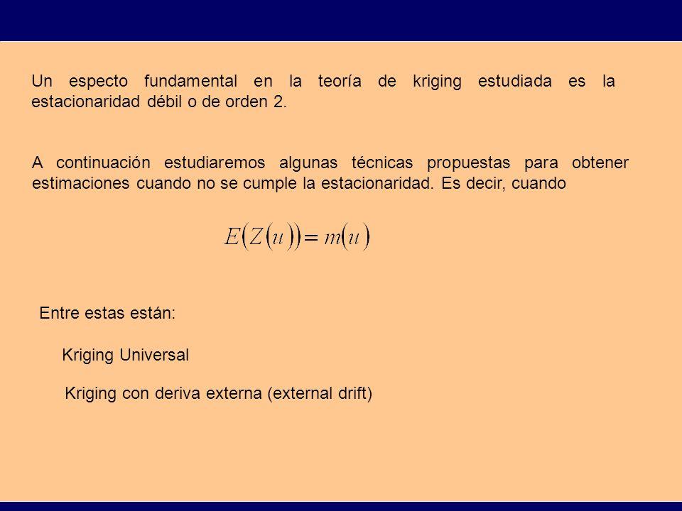UK KRIGING UNIVERSAL El kriging universal asume que la función aleatoria Z se puede descomponer en la forma: Donde R es una función aleatoria estacionaria de orden 2 con E(R(u))=0 y m es una función no aleatoria dependiente de la localización u.