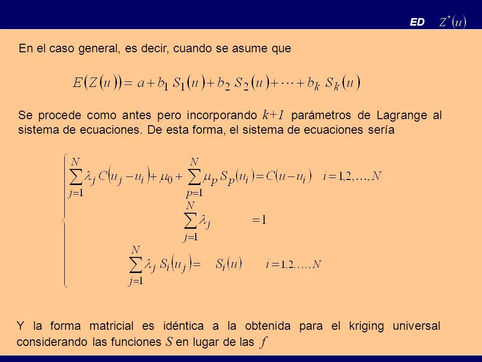 ED En el caso general, es decir, cuando se asume que Se procede como antes pero incorporando k+1 parámetros de Lagrange al sistema de ecuaciones. De e