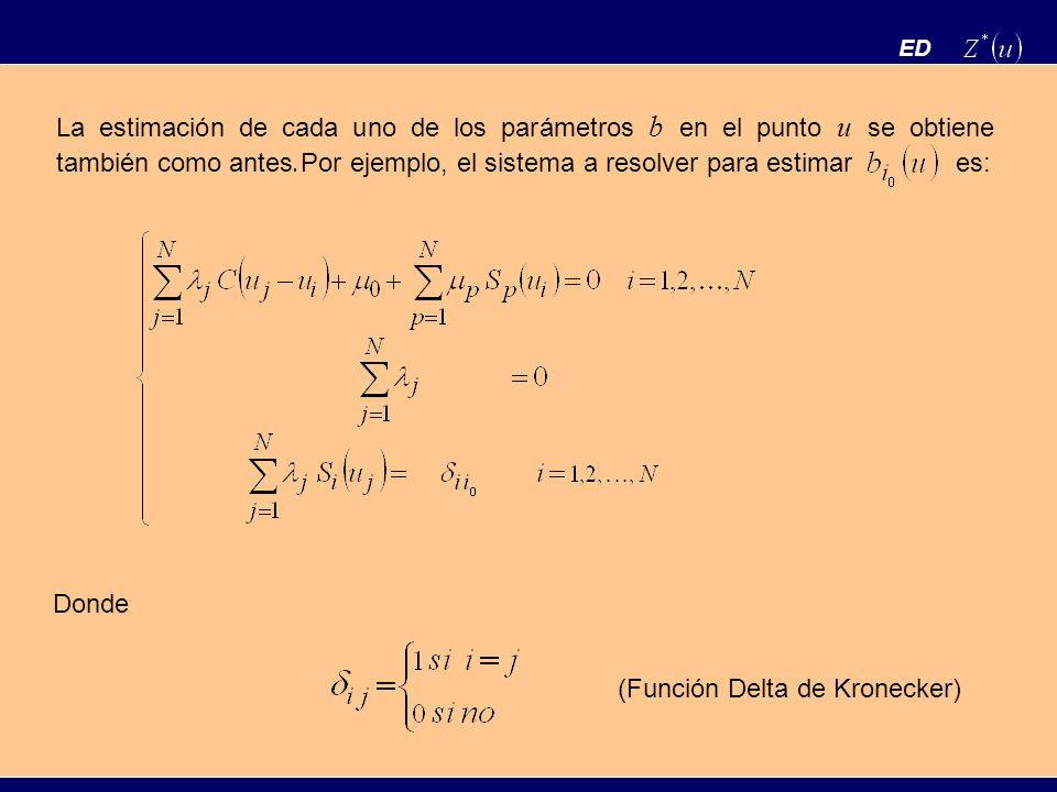ED La estimación de cada uno de los parámetros b en el punto u se obtiene también como antes. Por ejemplo, el sistema a resolver para estimar es: Dond