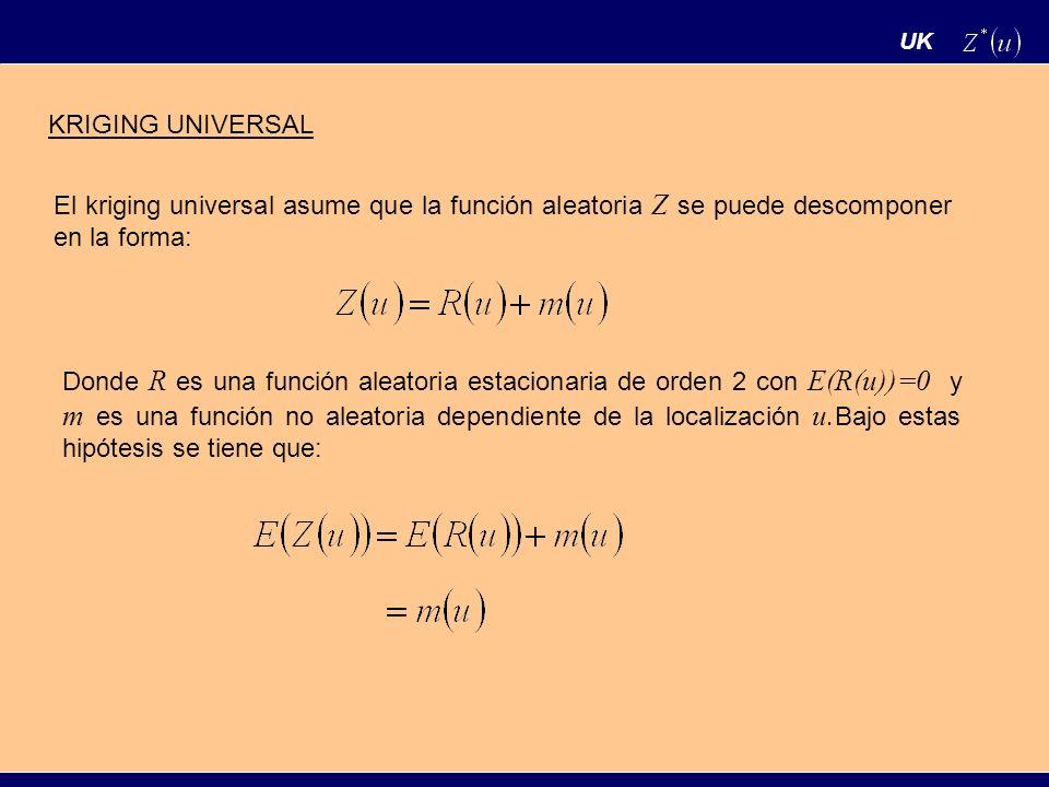 UK KRIGING UNIVERSAL El kriging universal asume que la función aleatoria Z se puede descomponer en la forma: Donde R es una función aleatoria estacion
