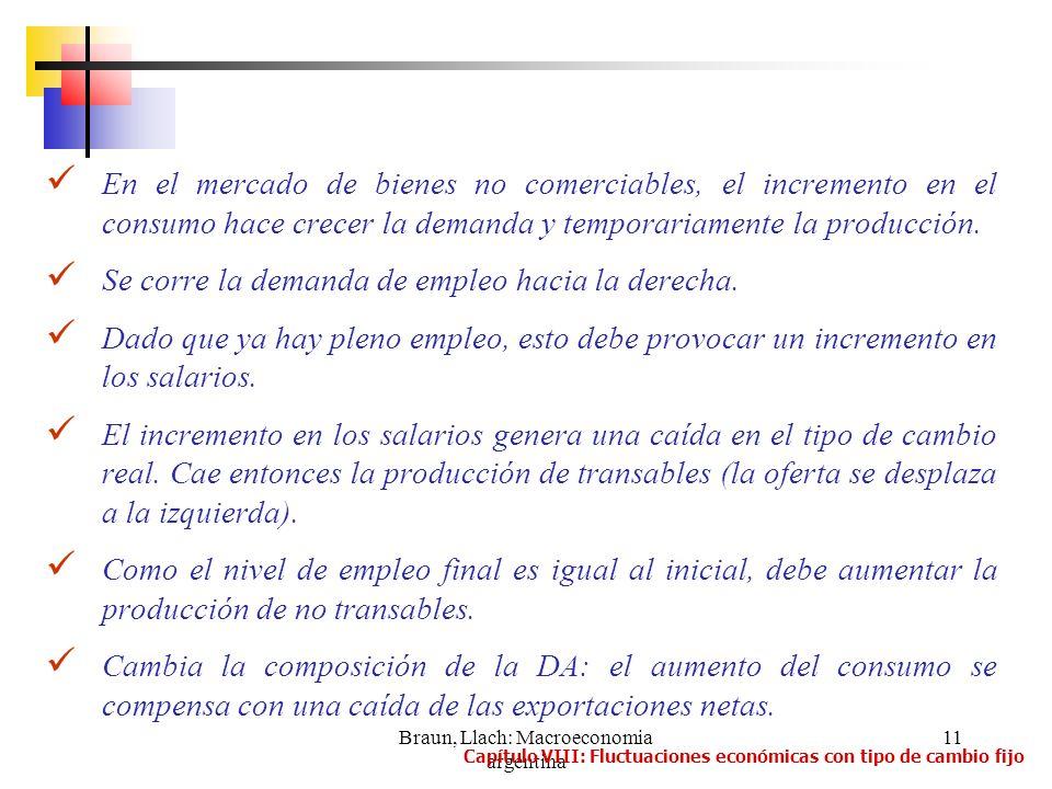 Braun, Llach: Macroeconomia argentina 11 En el mercado de bienes no comerciables, el incremento en el consumo hace crecer la demanda y temporariamente