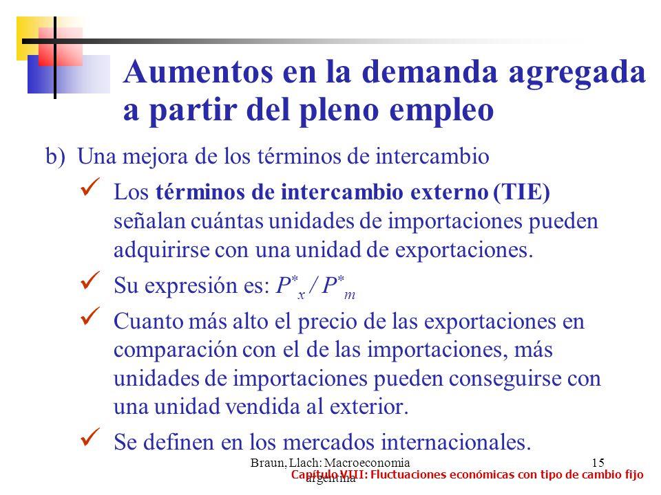 Braun, Llach: Macroeconomia argentina 15 b) Una mejora de los términos de intercambio Los términos de intercambio externo (TIE) señalan cuántas unidad