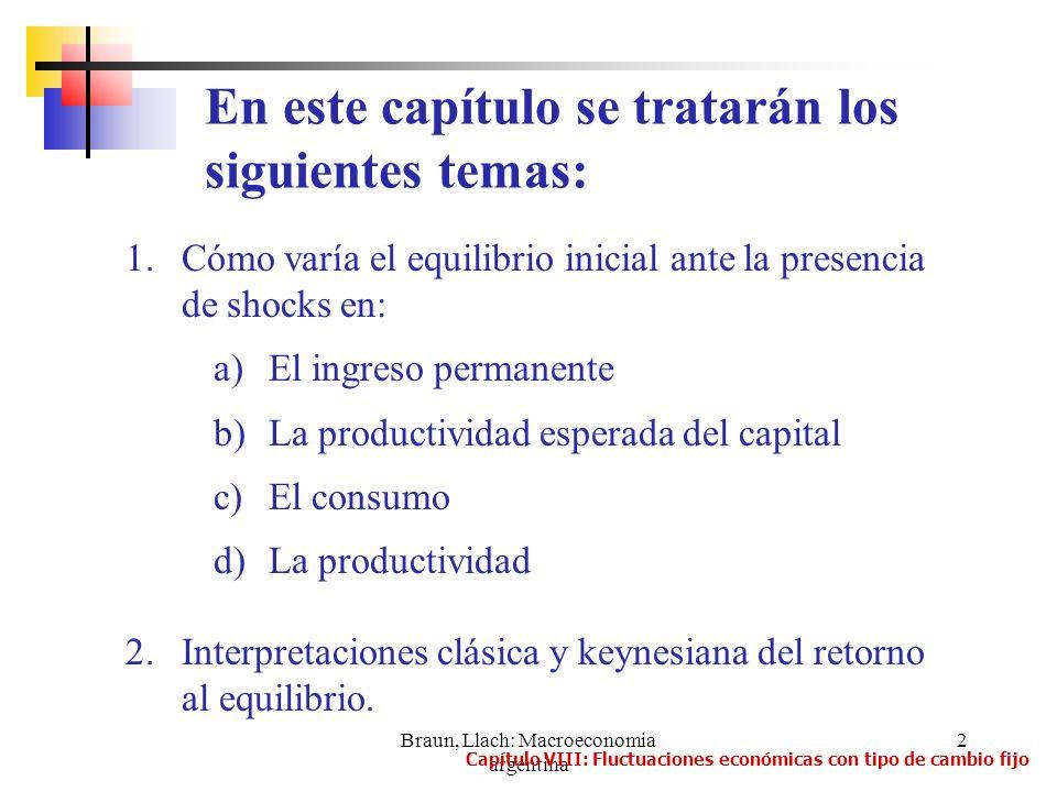 Braun, Llach: Macroeconomia argentina 3 Dos tipos de shocks: 1.Reales a)De productividad: cambios en el PBI potencial b)De demanda: provienen de un cambio en alguna componente de la DA.