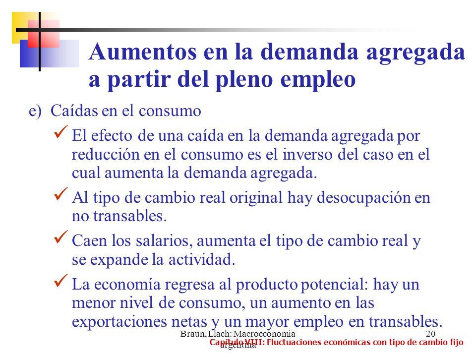 Braun, Llach: Macroeconomia argentina 20 e) Caídas en el consumo El efecto de una caída en la demanda agregada por reducción en el consumo es el inver