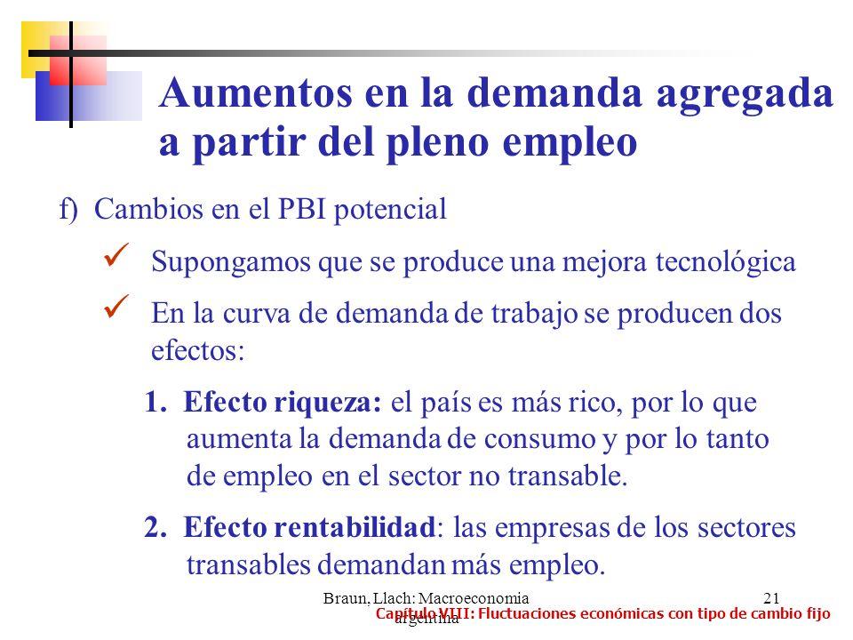 Braun, Llach: Macroeconomia argentina 21 f) Cambios en el PBI potencial Supongamos que se produce una mejora tecnológica En la curva de demanda de tra