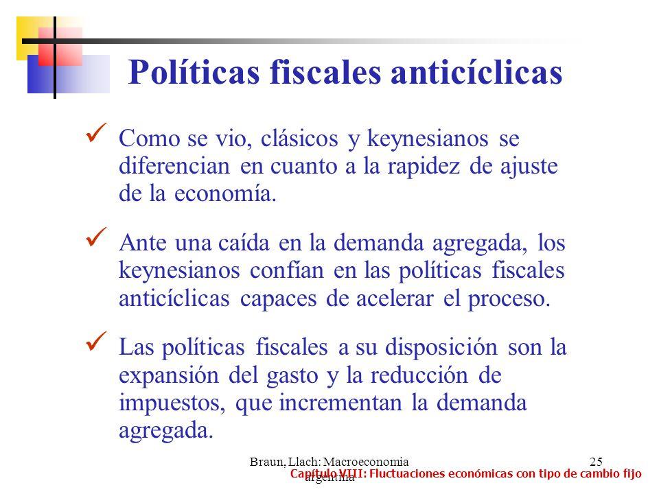 Braun, Llach: Macroeconomia argentina 25 Como se vio, clásicos y keynesianos se diferencian en cuanto a la rapidez de ajuste de la economía. Ante una