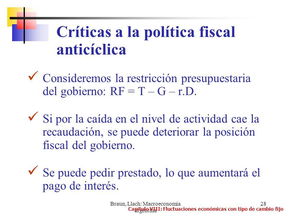 Braun, Llach: Macroeconomia argentina 28 Consideremos la restricción presupuestaria del gobierno: RF = T – G – r.D. Si por la caída en el nivel de act