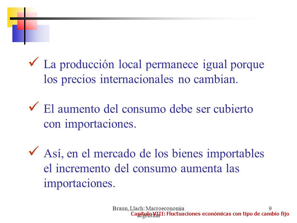 Braun, Llach: Macroeconomia argentina 9 La producción local permanece igual porque los precios internacionales no cambian. El aumento del consumo debe