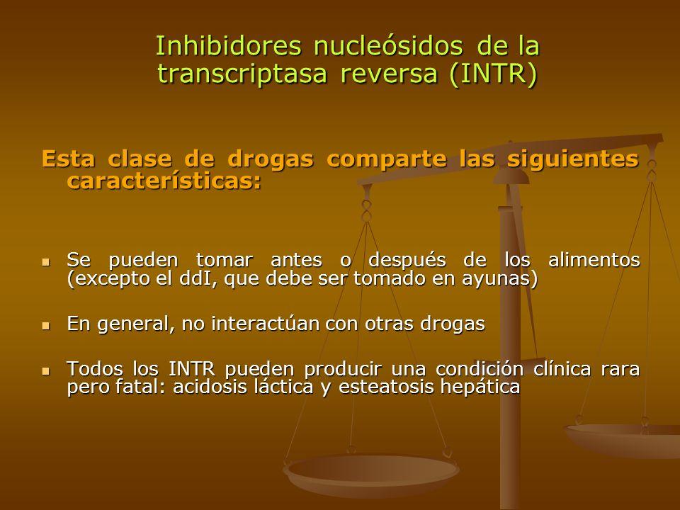 Esta clase de drogas comparte las siguientes características: Se pueden tomar antes o después de los alimentos (excepto el ddI, que debe ser tomado en
