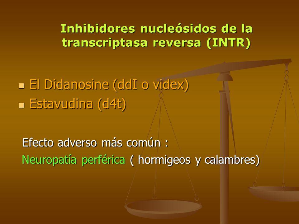 El Didanosine (ddI o videx) El Didanosine (ddI o videx) Estavudina (d4t) Estavudina (d4t) Efecto adverso más común : Efecto adverso más común : Neurop