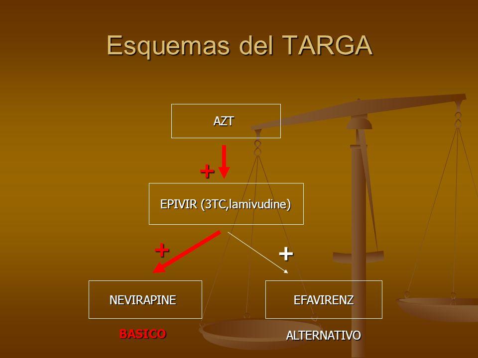 Esquemas del TARGA AZT EPIVIR (3TC,lamivudine) NEVIRAPINE + + EFAVIRENZ + BASICOALTERNATIVO
