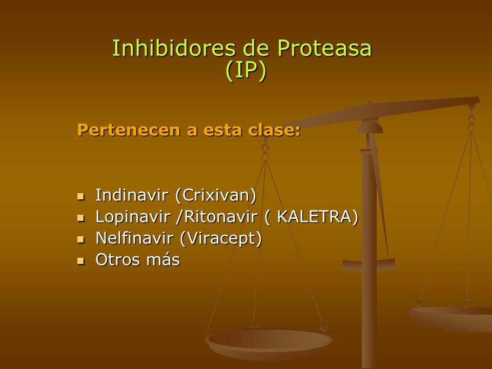 Inhibidores de Proteasa (IP) Pertenecen a esta clase: Indinavir (Crixivan) Indinavir (Crixivan) Lopinavir /Ritonavir ( KALETRA) Lopinavir /Ritonavir (