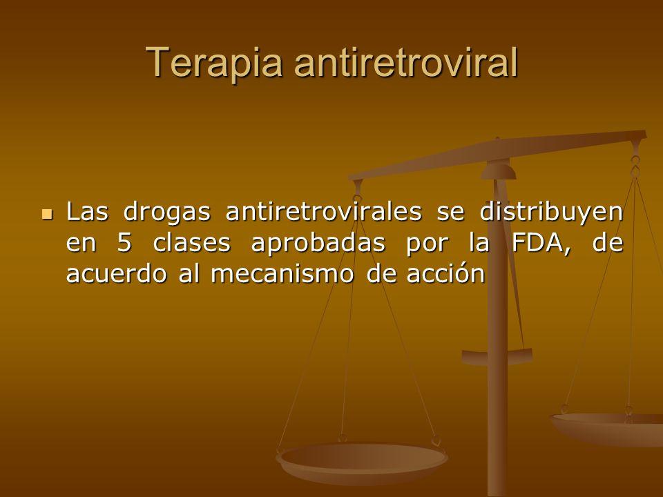 Las drogas antiretrovirales se distribuyen en 5 clases aprobadas por la FDA, de acuerdo al mecanismo de acción Las drogas antiretrovirales se distribu