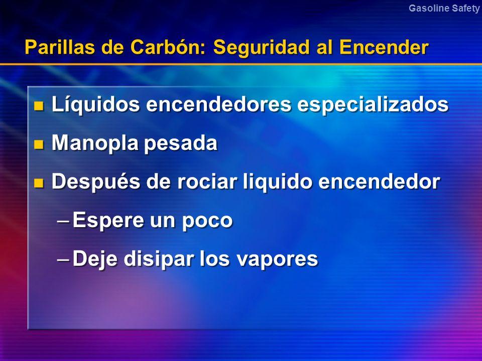 Gasoline Safety Parillas de Carbón: Seguridad al Encender Líquidos encendedores especializados Manopla pesada Después de rociar liquido encendedor –Es