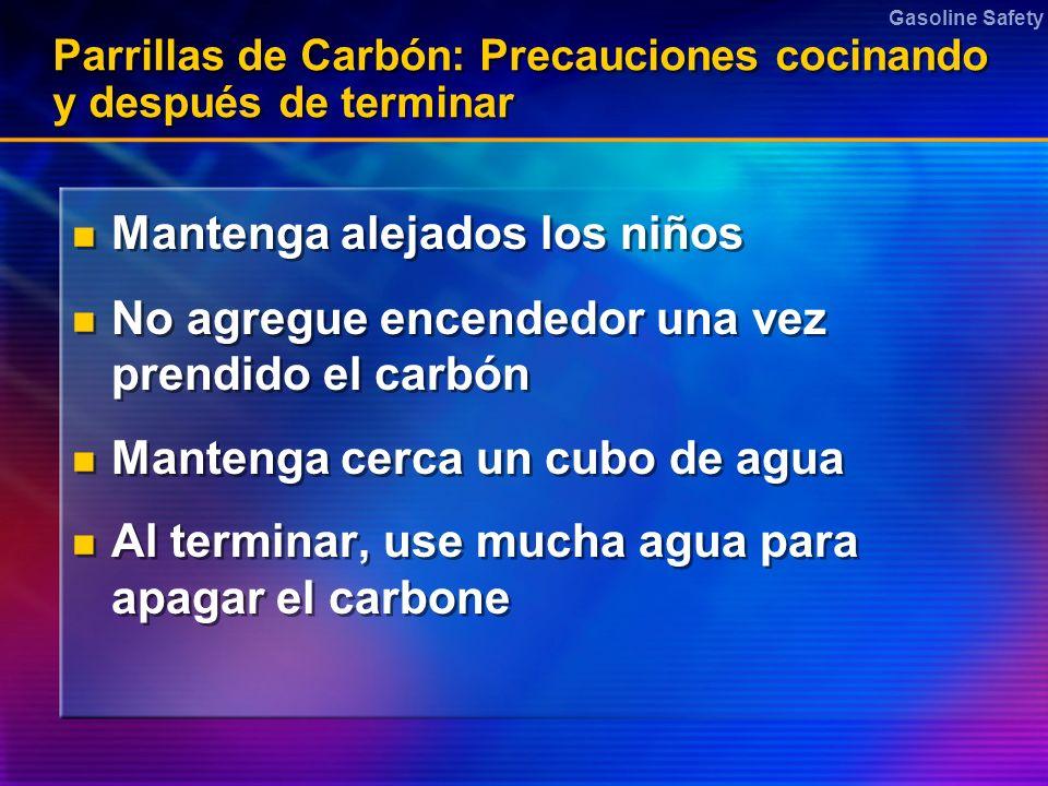 Gasoline Safety Parrillas de Carbón: Precauciones cocinando y después de terminar Mantenga alejados los niños No agregue encendedor una vez prendido e